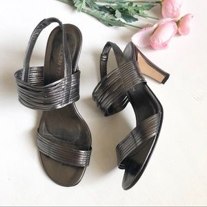 Ellen Tracy pewter metallic strappy sandal S6